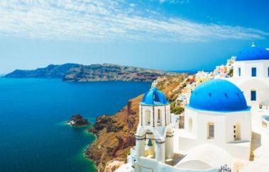 Greece coastline houses
